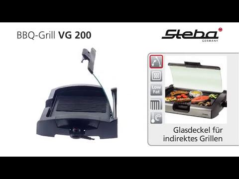 Steba VG200 BBQ Tischgrill mit Glasdeckel Outdoor Elektrogrill Garten Balkon