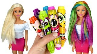 ️🌈 DIY Barbie Rainbow Hair Color with Markers | Coloring Barbie