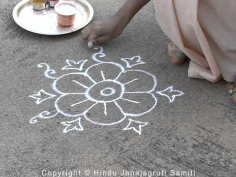 Hindu Customs – Laying out a rangoli by hand versus using some template / stamp