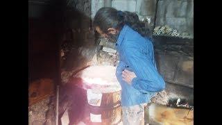 Raku Pottery firing with Raku Pottery Master George Nomikos from GENESIS at Manolates Samos.