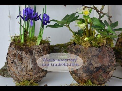 Blumentopf aus Laub - Frühlingshaft und dekorativ