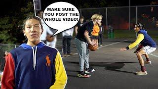 Trash Talker Gets MAD After LOSING! 5v5 Basketball At The Park!