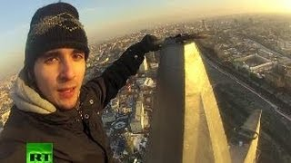 Nerves of Steel: Daredevil climber conquers Stalin Skyscrapers
