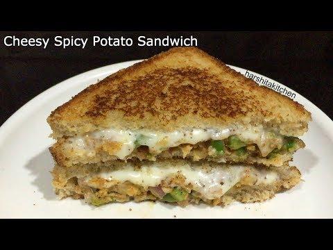 Cheesy Veg Spicy Potato Sandwich on Tawa, Veg Sandwich Recipe Indian Style | Mayonnaise Sandwich