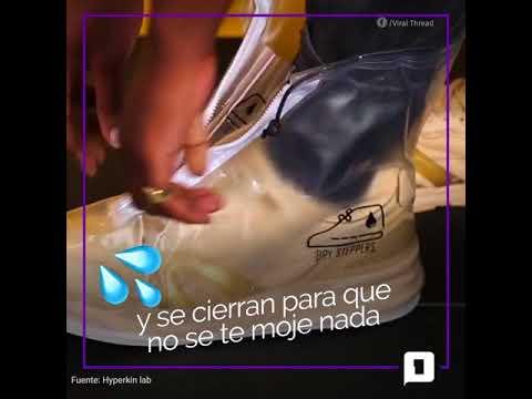 La nueva moda para la lluvia son los protectores impermeables para zapatillas 😯 ☔