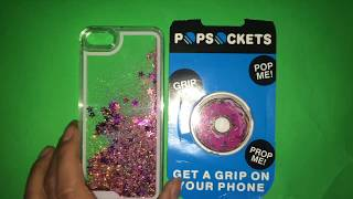 Unboxing my new pop socket and glitter phone case (cherry pebble)         )
