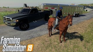 Farming Simulator 19 Riding & Buying Horses With Our 2nd Gen Dodge Ram & Gooseneck Horse Trailer