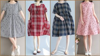 Impressive And Outstanding Unique Style Loose Fitting Casual Comfortable Cotton Leelun Dress