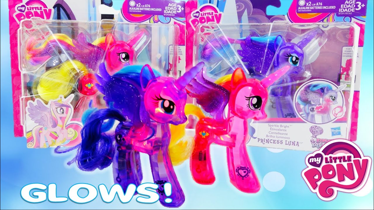 My Little Pony Princess Cadance and Princess Luna Sparkle Brights Light up and Glow Pony