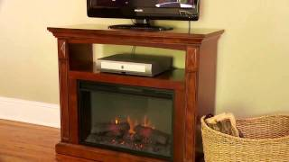 Fairmont Wood Media Console Electric Fireplace Cabinet Mantel Package.mp4
