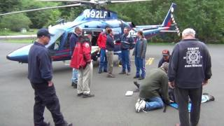 Lifeflight Helicopter landing, patient loading, and takeoff training