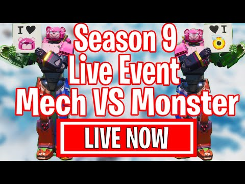 MECH VS MONSTER - INSANE Season 9 Live Event - Final Showdown Fortnite Event Cattus VS Doggus Fight