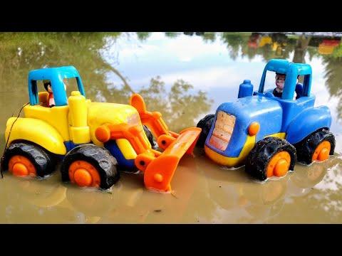 Мультики про машинки. Синий трактор едет по дороге, по лужам. Детские мультики.