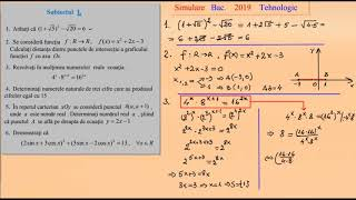 Simulare Bacalaureat Matematica, 2019 Tehnologic