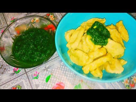 Галушки тыквенные с зелёным соусом по - индийски