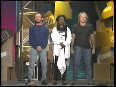 Robin Williams, Whoopi Goldberg, and Billy Crystal pulling comedy out of their asses