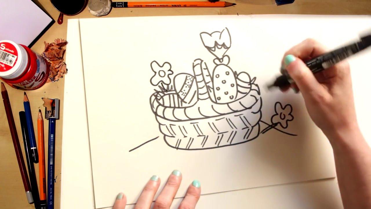 Como desenhar uma cesta com ovos de Páscoa - desenhos para crianças