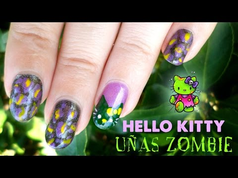Nail Art - Diseño de uñas Hello Kitty Zombie