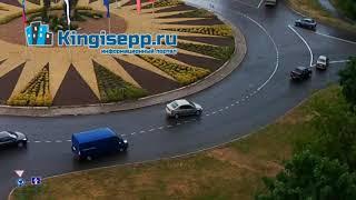 """Новый """"ШЕДЕВР"""" на кольце! Видео момента ДТП в Кингисеппе с веб-камеры KINGISEPP.RU"""