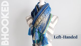 {Left-Handed} Waves Hairpin Lace Crochet Scarf Step-by-Step Tutorial