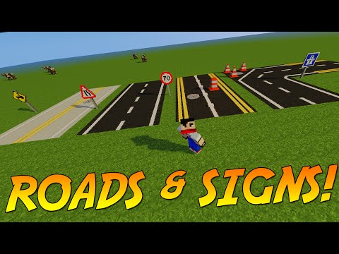 BUILD ROADS & SIGNS IN MINECRAFT! | Mod Showcase!