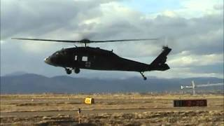Army Blackhawk Helicopter takeoff, hoverwork, high speed fly by