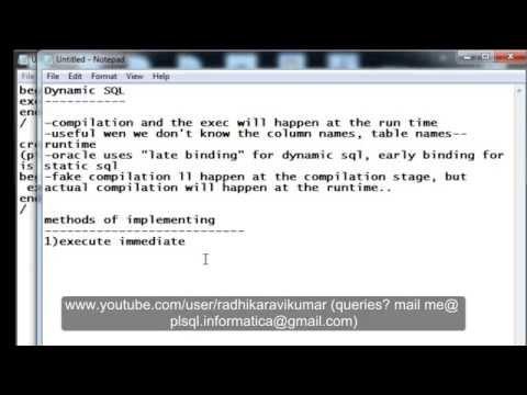 PL/SQL: Dynamic SQL part-1