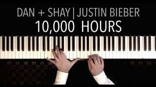 Dan + Shay, Justin Bieber   10,000 Hours | PIANO COVER (with Lyrics)