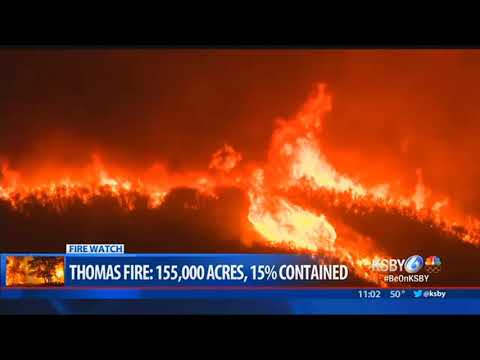 Thomas Fire continues to burn Saturday night