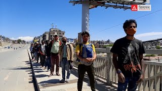 लकडाउनमा काठमाडौं बाट पैदल मदेश झर्दै मजदुरहरु
