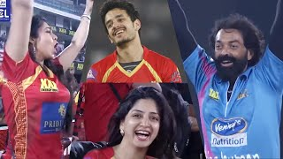 Chamy and Poonam Kaur Cheer TeluguWarriors in Semi Final Vs MumbaiHeroes. Bobby Deol Akhil Akkineni