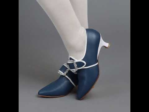 PRE-ORDER Dunmore 18th Century Shoes (Blue/White)(1770-1790)