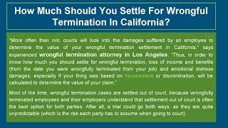 What's The Average Settlement Value Of A Wrongful Termination Case In California?
