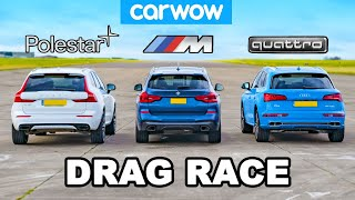 [carwow] BMW X3 M40i vs Volvo XC60 Polestar vs Audi Q5e: DRAG RACE