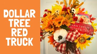 Dollar Tree Fall Red Truck Wreath DIY Fall Crafts Splatter Screen Wreaths Easy To Make Inexpensive