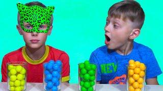 Funny Kid with Bubble Gumball JOHNY JOHNY Yes Papa & Funny Kids Color FACE