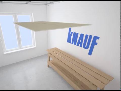 Подвесной потолок из гипсокартона двухуровневый каркас Видео КНАУФ  П 112, монтаж