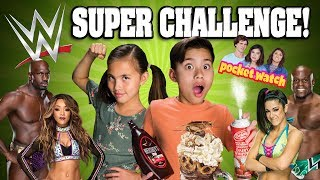 WWE VS. EVANTUBEHD!!! 5 Challenges in 5 Minutes! Eat It or Wear It! Gummy VS Real! Pizza Challenge!