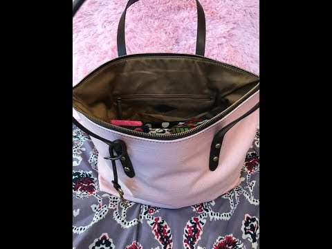 Quick review & what's in my bag. Fossil Jenna Tote Purse. Powder Pink