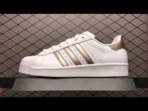 $40 Adidas Superstar W BA8169 White Gold Womens 36-39 us5.5-us8