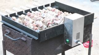 Электропривод для 10 шампуров на мангал - Электропривод для мангала - Шампуры-самокруты - между шампурами 70 мм - видео 2