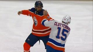 Oilers' Khaira fights Clutterbuck after dirty cross-check on Pakarinen