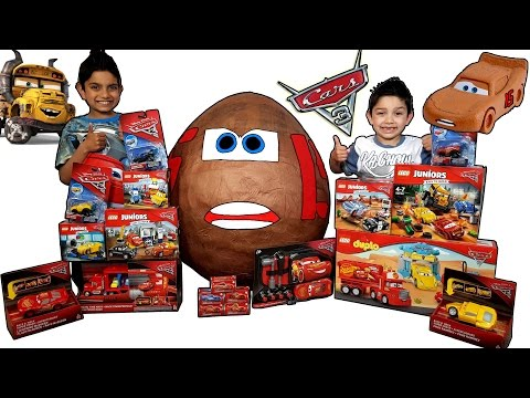 Disney Cars 3 Toys Worlds Biggest Muddy McQueen Toy Surprise Egg With Big Lego Collection