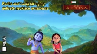 Radha And Lalita Stringing Delicate Necklace Ornaments