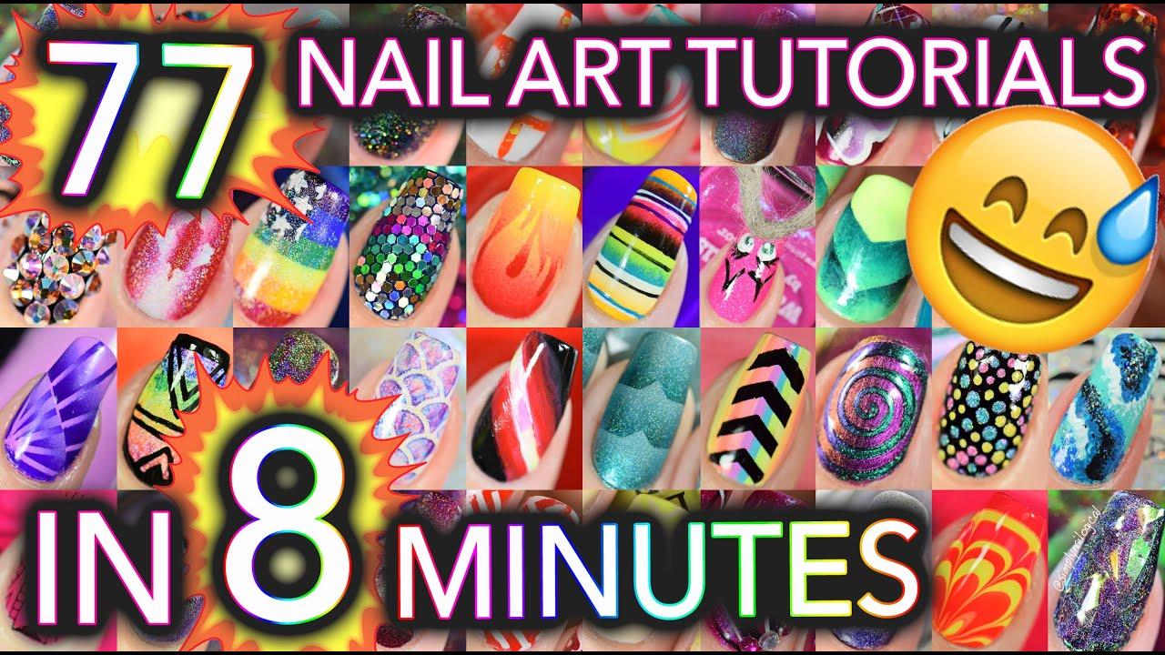 77 Nail Art tutorials in 8 minutes thumbnail