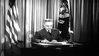 Harry S Truman elected as the 33rd President of the United States. HD Stock Footage