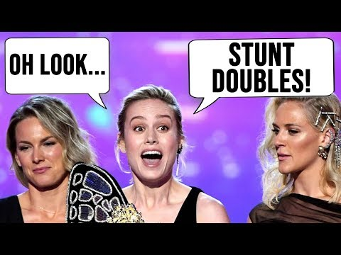 Brie Larson EXPOSES Brie Larson - CAPTAIN MARVEL Brings STUNT DOUBLES to MTV MOVIE AWARDS 2019