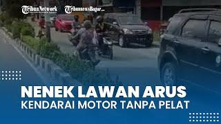 Viral Video Nenek Kendarai Motor Lawan Arus, Tanpa Pakai Helm dan Motor Tak Ada Pelat Nomor