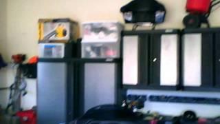 Construction and Garage w/ Kobalt Cabinets, Gladiator Hangers & Harley-Davidsons