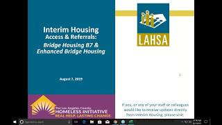 Interim Housing Access and Referrals: Bridge Housing B7 & Enhanced Bridge Housing